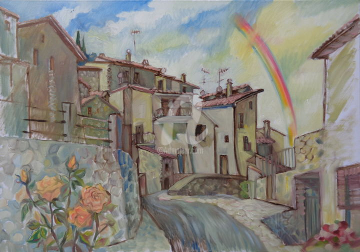 Italian city. Rainbow - Painting,  23.6x31.5x1.2 in, ©2015 by Olga Bagina -                                                                                                                                                                                                                                                                                                                                                                                                                                                      Figurative, figurative-594, Architecture, Cityscape, Landscape, Italy, landscape, cityscape, original art
