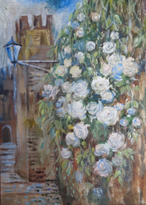 Wall blossomed! - Painting,  23.6x15.8x0.2 in, ©2015 by Olga Bagina -                                                                                                                                                                                                                                                                                                                                                                                                                                                          Figurative, figurative-594, Other, Cityscape, Flower, original, Italy, landscape, flowers