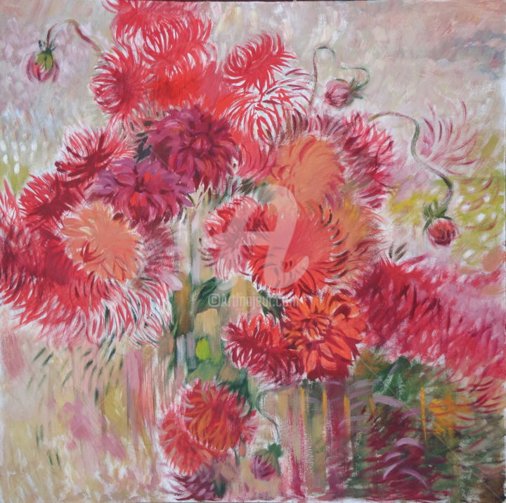 Red Dahlia - Painting,  39.4x39.4x2 in, ©2015 by Olga Bagina -                                                                                                                                                                                                                                                                                                                                                                                                                                                                                                                                                  Impressionism, impressionism-603, Other, Flower, flower, red dalia, red flower, impressionism, oruginal, hardboard, oil
