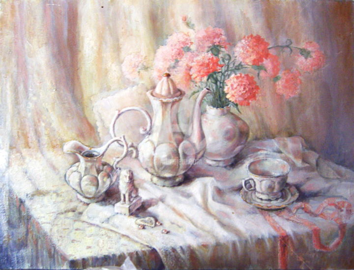 Still life with white porcelain - Painting,  27.6x35.4x1.2 in, ©1999 by Olga Bagina -                                                                                                                                                                                                                                                                                                                                                              Figurative, figurative-594, Still life, original, oil, flower, stil life