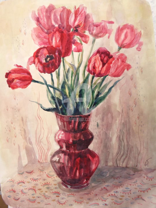 Red tulips. - Painting,  23.6x15.8 in, ©1997 by Olga Bagina -                                                                                                                                                                                                                                                                                                                                                                                                                                                      Figurative, figurative-594, Still life, Flower, flowers, tulips, red, watercolor, paper