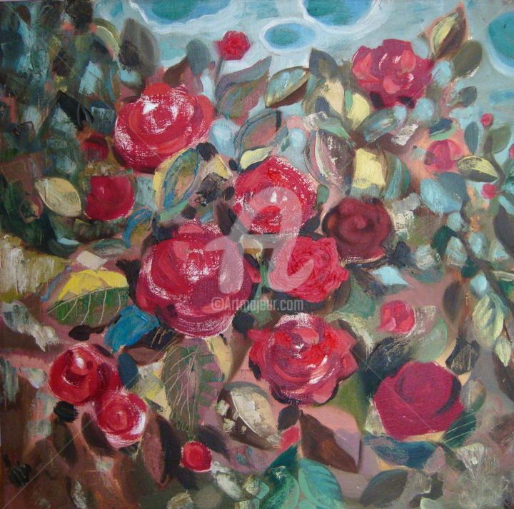 Happy August Roses - Painting,  19.7x19.7x1.2 in, ©2012 by Olga Bagina -                                                                                                                                                                                                                                                                                                                                                                                                          Figurative, figurative-594, Flower, roses, flowers, oil, original, red
