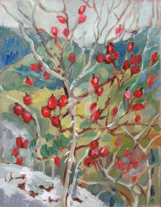 Mountain rosehip - Painting,  11.8x7.9x0.8 in, ©2015 by Olga Bagina -                                                                                                                                                                                                                                                                                                                                                                  Figurative, figurative-594, Other, Landscape, rosehip, landscape, oil