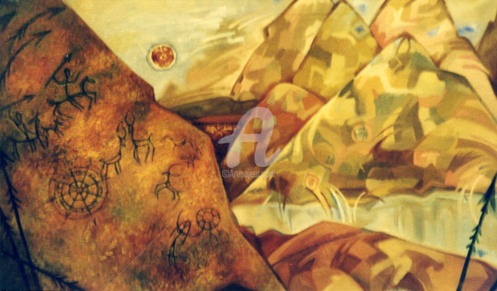Old mountains - © 2000 mountains, oil, art, painting Online Artworks