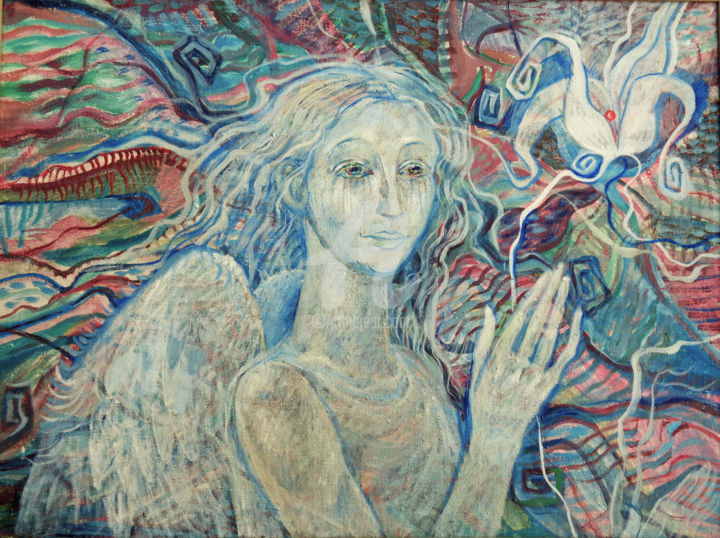 Angel - Painting,  23.6x31.5x0.8 in, ©2000 by Olga Bagina -                                                                                                                                                                                                                                                                                                                  Illustration, illustration-600, Fairytales, angel, decorativ, oil