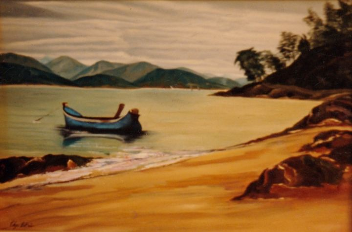 """Parati"" - Painting,  60x80 cm ©1992 by Olga Beltrão -                                                                        Contemporary painting, Realism, Canvas, Seascape, Paisagem Marinha"