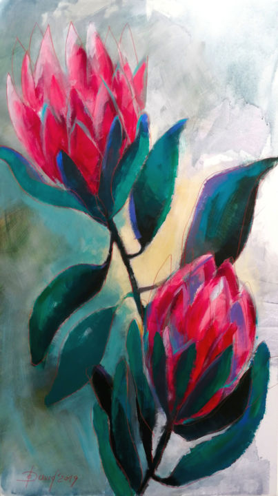 Protea - African Rose - Painting,  140x80x4 cm ©2019 by Olga David -                                                                                                                    Expressionism, Figurative Art, Contemporary painting, Flower, Botanic, Garden, Love / Romance, Nature, blume, protea, floral, flower, blüte, rose, blossom, bloom, rosa, african rose, pink