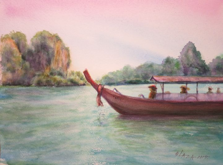 Asia - Painting,  9.1x12.2 in, ©2014 by Olga Laza -                                                                                                                                                                                                                                                                                              Asia, asia, watercolor, say, sea, boat