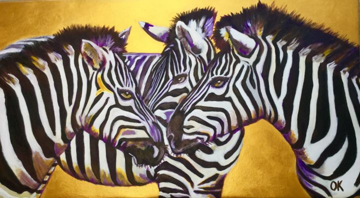ZEBRAS on the golden background. Large size canvas - Painting,  45x80x2 cm ©2018 by Olga Koval -                                                                                                                                                                                                                                                                        Abstract Expressionism, Art Deco, Classicism, Conceptual Art, Contemporary painting, Expressionism, Impressionism, Modernism, Photorealism, Portraiture, Realism, Street Art (Urban Art), Canvas, Wood, Animals, Family, Fantasy, Horses, Nature, Portraits, Zebras, horses, gold, field, africa, animals, home decor, original, wall decor, black and white, modern art