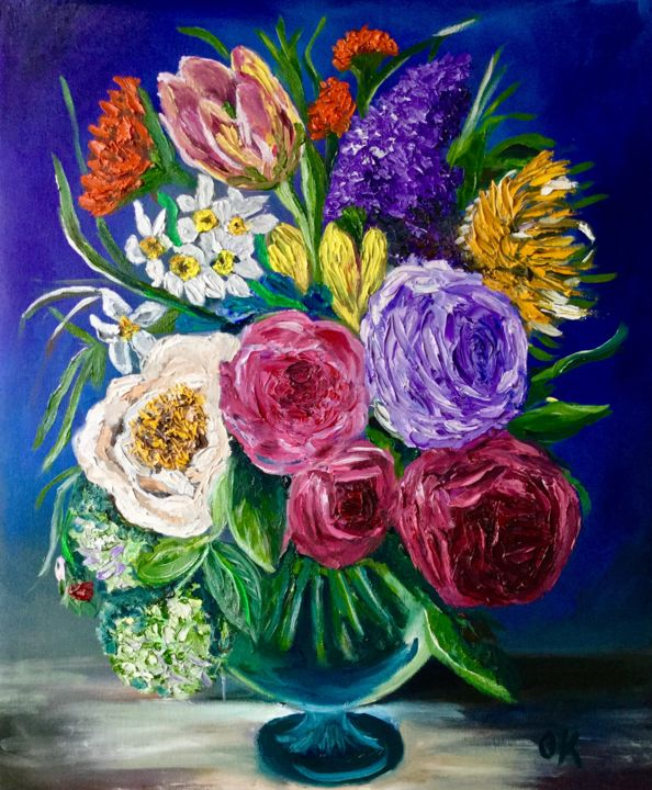 BOUQUET OF FLOWERS. ROSES, TULIPS, DAFFODILS. (Olga Koval)