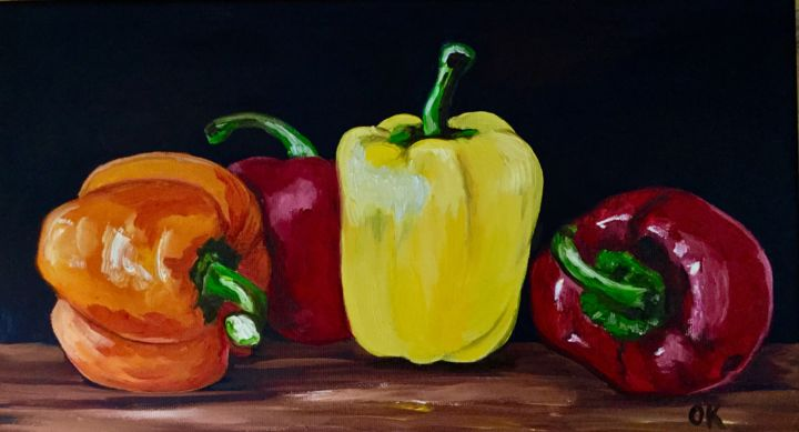 Still life with peppers - Painting,  25x45x2 cm ©2018 by Olga Koval -                                                                                                                                                                                                                                                                                                                                                                                    Abstract Art, Abstract Expressionism, Art Deco, Classicism, Conceptual Art, Contemporary painting, Documentary, Expressionism, Impressionism, Modernism, Photorealism, Pop Art, Realism, Street Art (Urban Art), Canvas, Wood, Botanic, Cuisine, Education, Family, Fantasy, Flower, Food & Drink, Garden, Interiors, Light, Nature, Still life, World Culture, peppers, vegetables, still life, classical, red, yellow, painting, oil paint, wall decor, canvas, fruits, modern, art, online, gallery, sale, green, hotel decor, gift, present, original