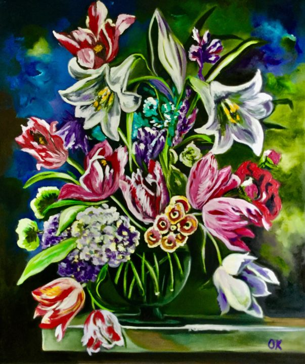 Bouquet of flowers olga koval bouquet of flowers painting 608x508x2 cm 2018 by olga izmirmasajfo