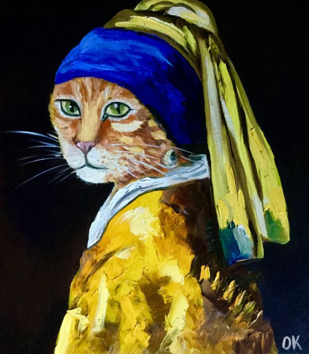 Cat with a pearl earring #6 (Olga Koval)
