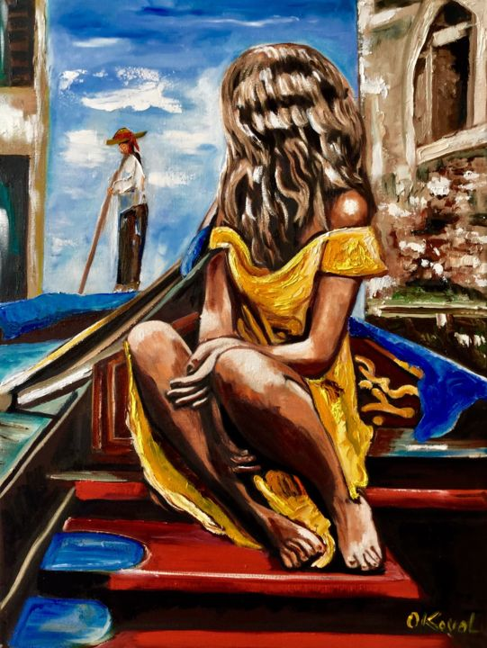 Girl in Venice - Painting,  60x45x2 cm ©2019 by Olga Koval -                                                                                                                                                                                                                                                                        Abstract Expressionism, Art Deco, Classicism, Expressionism, Impressionism, Modernism, Photorealism, Portraiture, Canvas, Architecture, Boat, Body, Cities, Cityscape, Colors, Erotic, Fantasy, Love / Romance, Nude, Women, girl, venice, venedig, moderne kunst, modern art, oil painting, boats, red, rot, segeltuch, nackt, art, wall decor, woman, frau, canal, kanal, italy, home decor, wand decoration, murale, femme, venise, cadeau pour fille, yellow, blue sky, landscape, townscape, gondolier, gondola