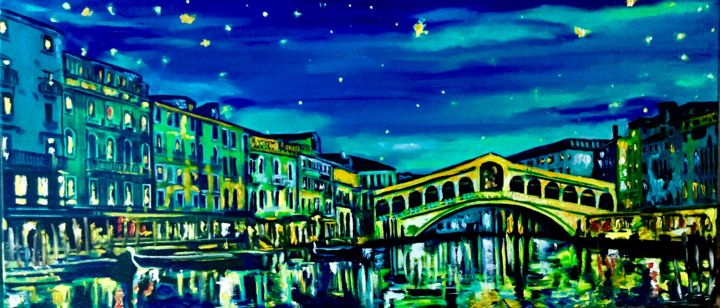 Venice , Rialto bridge at night, STARRY NIGHT - Painting,  40x90x2 cm ©2019 by Olga Koval -                                                                                                                                                                                    Abstract Expressionism, Classicism, Expressionism, Impressionism, Modernism, Canvas, Wood, Architecture, Boat, Cityscape, Landscape, Light, Love / Romance, venice, rialto bridge, canal, italy
