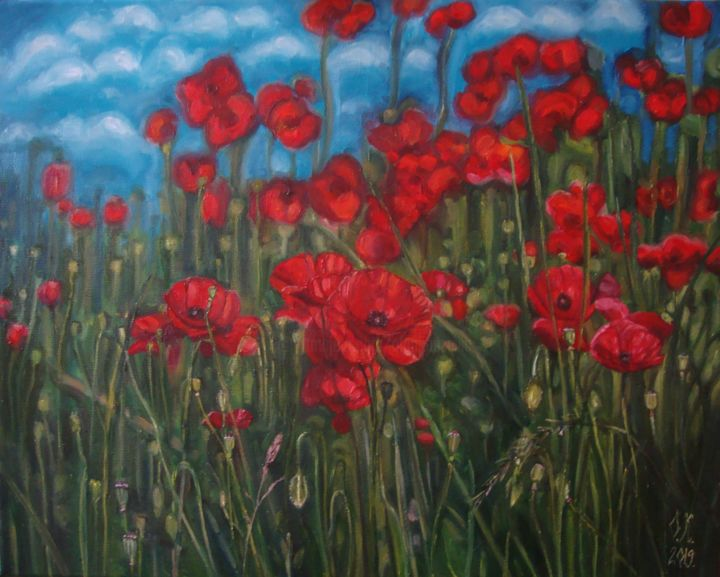 Red poppies - © 2019 nature, poppy painting, poppies painting, red poppies, red poppy, red poppy oil painting, oil on canvas, colorful art, happy art, spring art, green, blue, red, plants, flowers, floral art Online Artworks