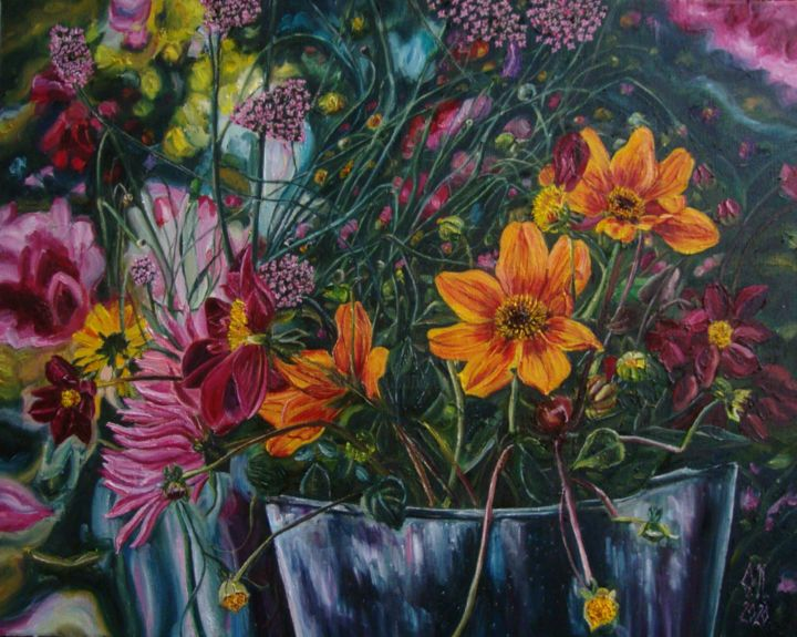 """Painting titled """"Bucket with flowers…"""" by Olga Knezevic, Original Art, Oil"""
