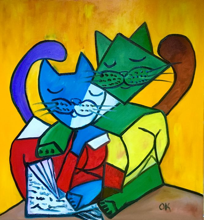 """Painting titled """"Two Cats Reading in…"""" by Olga Koval, Original Art, Oil Mounted on Stretcher frame"""