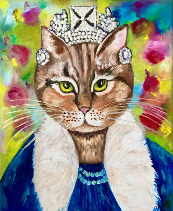 """Painting titled """"Cat La Queen, inspi…"""" by Olga Koval, Original Art, Oil Mounted on Stretcher frame"""