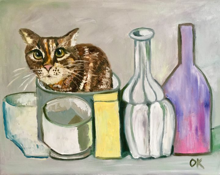 """Painting titled """"Troy a cat into Gio…"""" by Olga Koval, Original Art, Oil Mounted on Stretcher frame"""