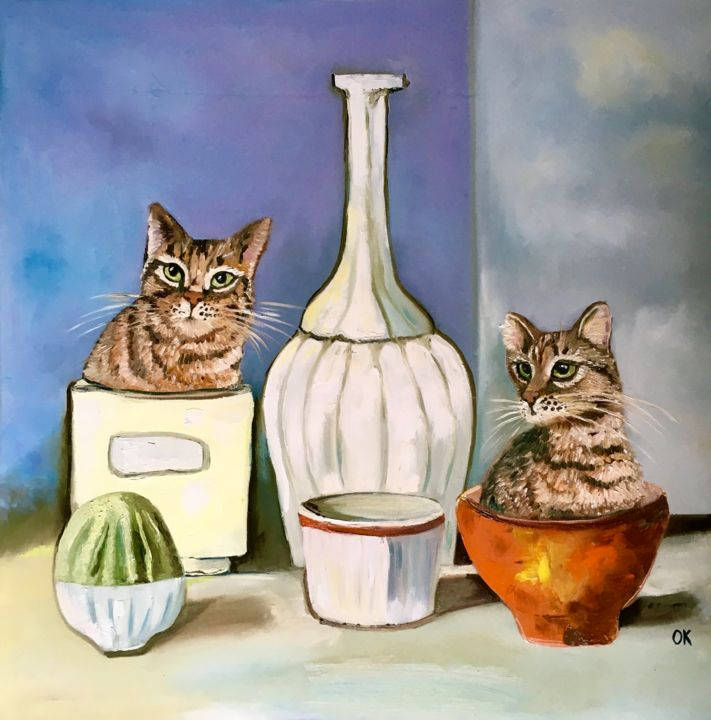 """Painting titled """"Two Cats in Giorgio…"""" by Olga Koval, Original Art, Oil Mounted on Stretcher frame"""