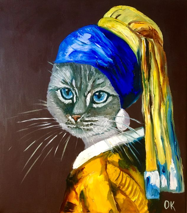 """Painting titled """"British blue Cat wi…"""" by Olga Koval, Original Art, Oil Mounted on Stretcher frame"""