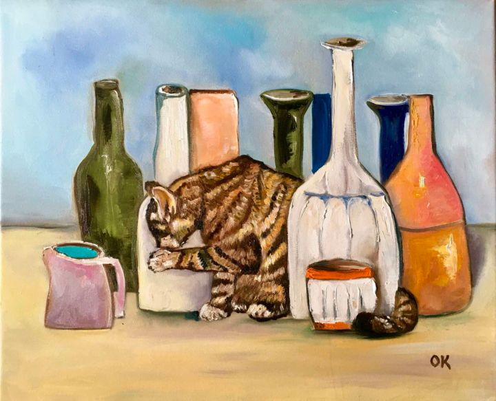 """Painting titled """"Troy The Cat with b…"""" by Olga Koval, Original Art, Oil Mounted on Stretcher frame"""