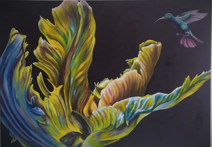 """Painting titled """"The secret passion…"""" by Olga Sarukhanova, Original Art, Oil Mounted on Stretcher frame"""