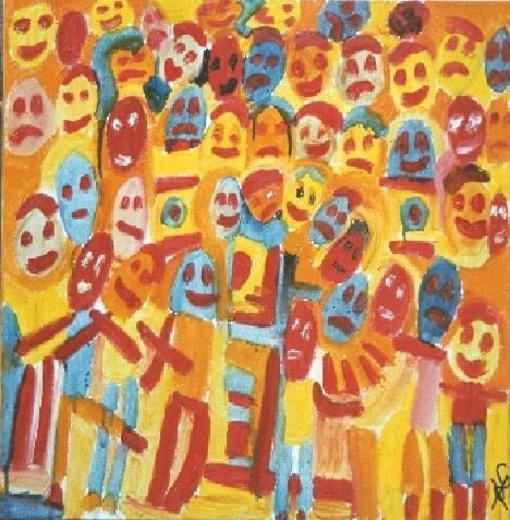 Les supporters - Painting,  50x50 cm ©2004 by Olivier Dumont -