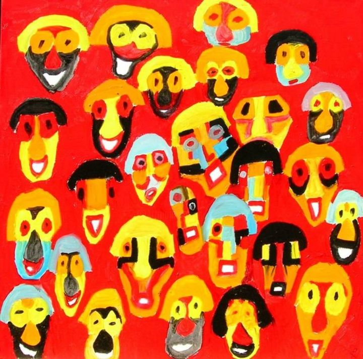 Humanoïdes associés - Painting,  39.4x39.4 in, ©2004 by Olivier Dumont -