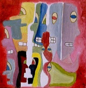 Multitêtes 1 - Painting,  50x50 cm ©2003 by Olivier Dumont -