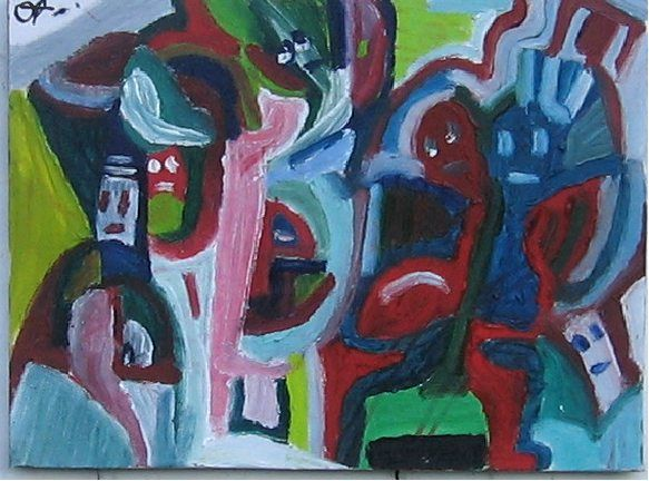 Têtes chercheuses - Painting,  9.5x11.8 in, ©2009 by Olivier Dumont -                                                                                                                                                                                                                          Expressionism, expressionism-591, Performing Arts, bagarre