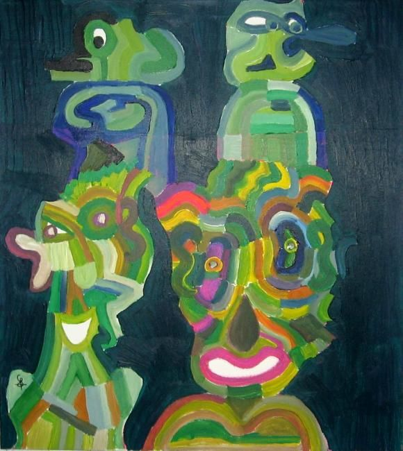 Excroissances - Painting,  39.4x35.4 in, ©2012 by Olivier Dumont -