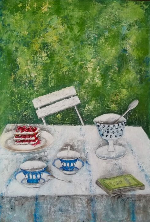 tea-time-in-the-garden - Painting,  73x50 cm ©2016 by Anne Olivares -                        Figurative Art