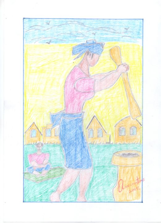 """Drawing titled """"family"""" by Olivecreations, Original Art, Pencil"""
