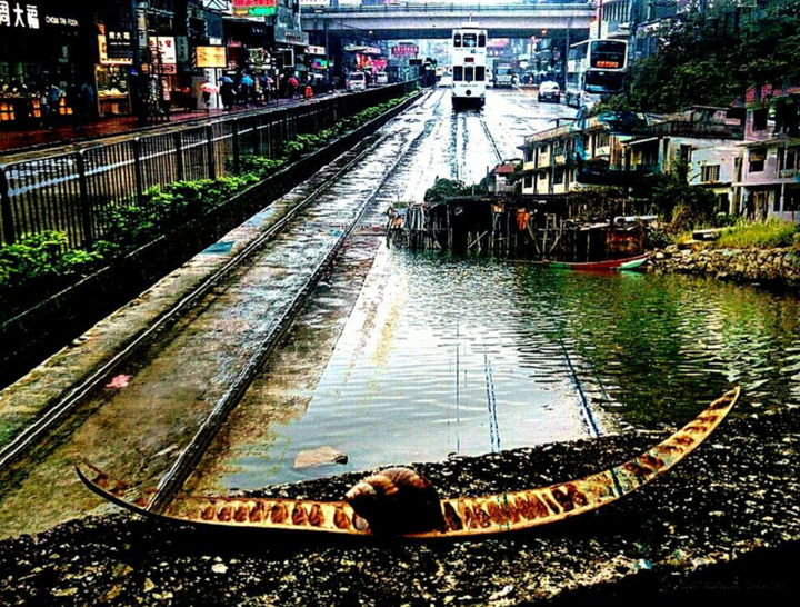 """Photography titled """"hk after rain"""" by Olivier Barbaud, Original Art, Digital Photography"""