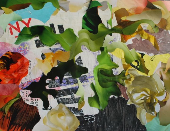 NY - Collages,  19.7x25.6x0.2 in, ©2019 by Olivier Bourgin -                                                                                                                                                                                                                                                                                                                                                                                                                                                                                                                                                                                                                                      Abstract, abstract-570, Abstract Art, Affiche, Posterart, Flowers, vintage, Streetart, Lifestyle, Tornposterart, green, NY, Poster