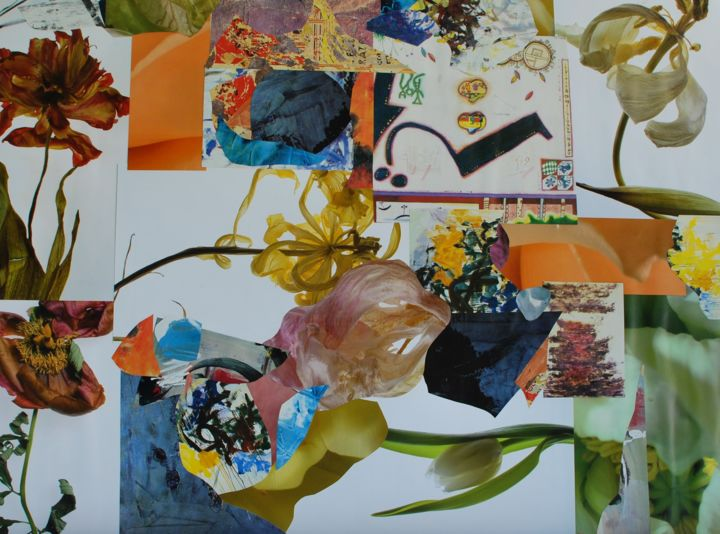 Flowersession - Collages,  19.7x25.6x0.2 in, ©2019 by Olivier Bourgin -                                                                                                                                                                                                                                                                                                                                                                                                                                                                                                                                              Abstract, abstract-570, Abstract Art, Flower, Fleurs, Couleurs, Lifestyle, collage contemporain, Flowers, Surrealisme, Coulors