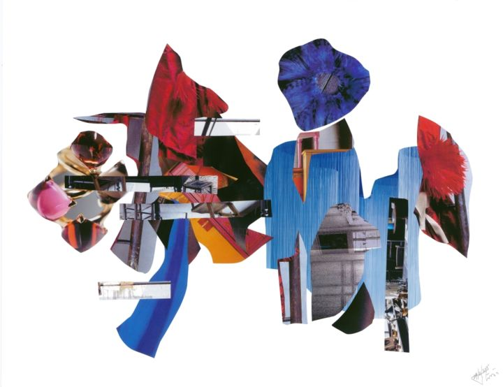 Fashion - Collages,  19.7x25.6x0.4 in, ©2015 by Olivier Bourgin -                                                                                                                                                                                                                                                                                                                                                                                                          Abstract, abstract-570, Abstract Art, Collage contemporain, couleurs, Lifestyle, Harmonie, élégance