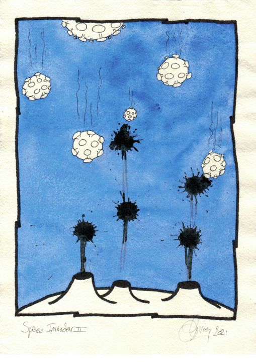 """Drawing titled """"Space Invaders II"""" by Olivier, Original Art, Watercolor"""