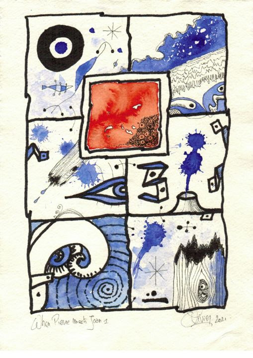"""Drawing titled """"When Pierre meets J…"""" by Olivier, Original Art, Watercolor"""