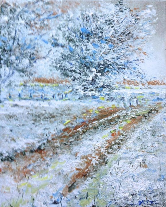 """Painting titled """"Hivers"""" by Olivier Rilliet, Original Art,"""