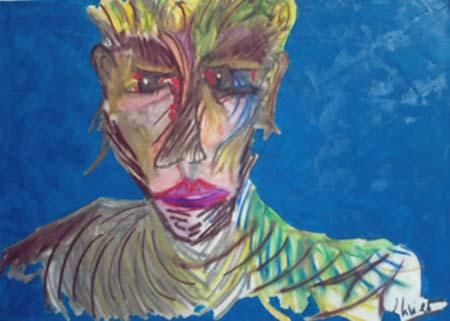 L'EXTENUE - Painting,  11.8x16.5 in, ©2004 by Oliverb -                                                              PORTRAIT EXPRESSIONISTE