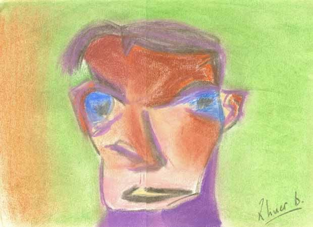 FIGURE HUMAINE 1 - Drawing,  11.8x16.5 in, ©2004 by Oliverb -                                                                                                              Colors, PORTRAIT PASTEL