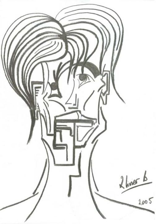 L'EXILE II - Drawing,  60x42 cm ©2005 by Oliverb -                            Black and White, PORTRAIT FIGURATIF FUSAIN ETUDE