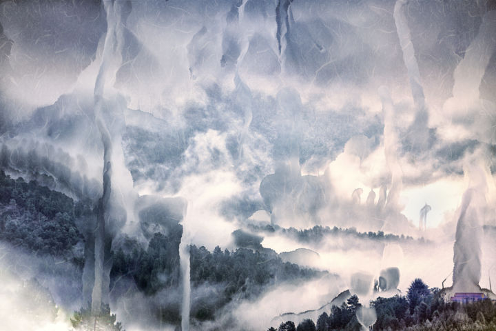 china in Cévennes_2 (ex 1/2) - Digital Arts,  60x90 cm ©2016 by OLIVIER GILET -                                                                                                Environmental Art, Figurative Art, Contemporary painting, Paper, Nature, Mountainscape, Cévennes