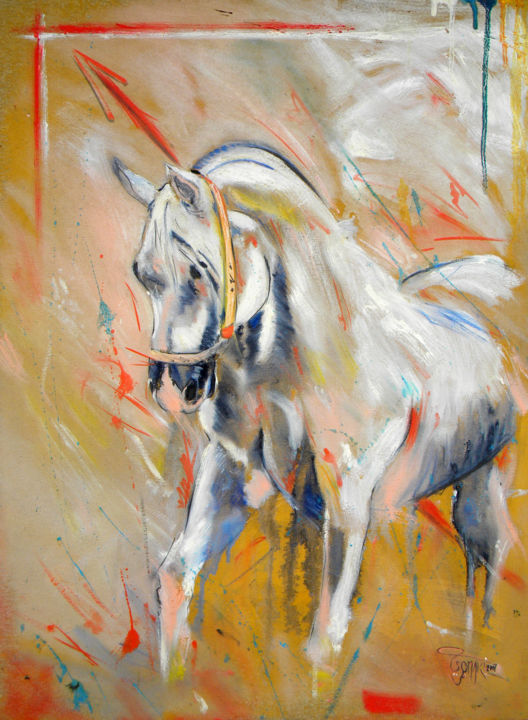 """Painting titled """"Cheval"""" by Omari, Original Art, Oil Mounted on Stretcher frame"""