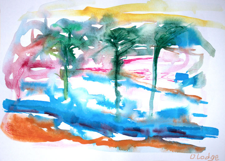 Painting, watercolor, expressionism, artwork by Ona Lodge