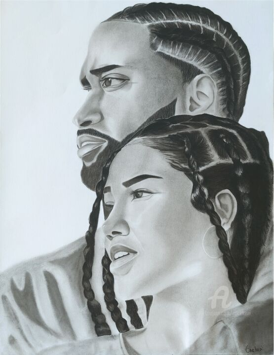 """Drawing titled """"Vision"""" by Oncekeni, Original Art, Charcoal"""