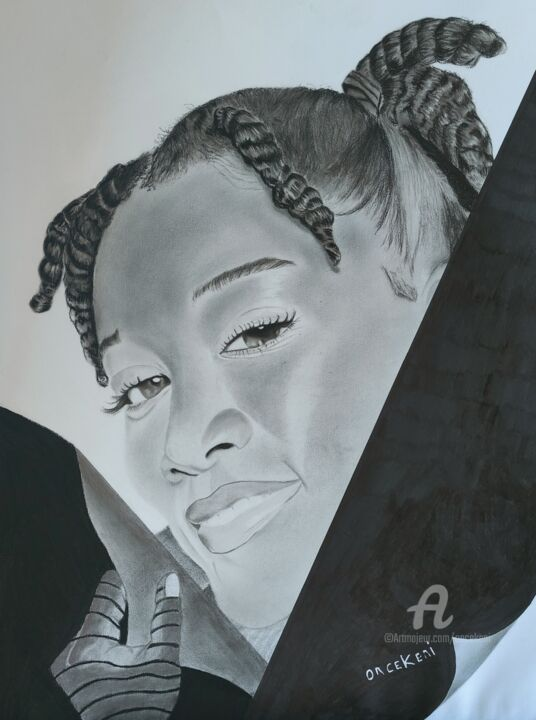 """Drawing titled """"Fall in love with m…"""" by Oncekeni, Original Art, Charcoal"""